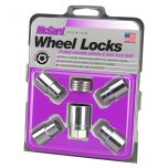 Chrome Regular Shank Wheel Lock Set (M12 x 1.5 Thread Size) - Set of 4 Locks, 4 Washers and 1 Key