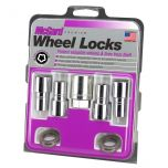 Chrome Long Shank Wheel Lock Set (M12 x 1.5 Thread Size) - Set of 4 Locks, 4 Washers and 1 Key