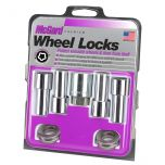 Chrome Extra Long Shank Wheel Lock Set (1/2-20 Thread Size) - Set of 4 Locks, 4 Washers and 1 Key