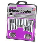 Chrome Extra Long Shank Wheel Lock Set (M12 x 1.5 Thread Size) - Set of 4 Locks, 4 Washers and 1 Key