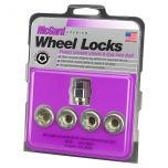 Cone Seat- Under Hub Cap Wheel Lock Set (1/2-20 Thread Size) - Set of 4 Locks and 1 Key