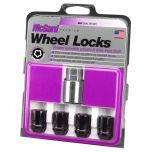 Black Cone Seat Wheel Lock Set (1/2-20 Thread Size) - Set of 4 Locks and 1 Key