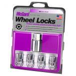 Chrome Cone Seat Wheel Lock Set (1/2-20 Thread Size) - Set of 4 Locks and 1 Key