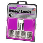 Chrome Cone Seat Wheel Lock Set (M12 x 1.5 Thread Size) - Set of 4 Locks and 1 Key