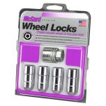 Chrome Cone Seat Wheel Lock Set (M12 x 1.75 Thread Size) - Set of 4 Locks and 1 Key