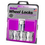 Chrome Cone Seat Wheel Lock Set (1/2-20 Thread Size) - Set of 4; Set of 4 Locks and 1 Key