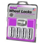 Chrome Cone Seat Wheel Lock Set (9/16-18 Thread Size) - Set of 4 Locks and 1 Key
