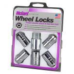 Chrome Cone Seat Wheel Lock Set (M14 x 1.5 Thread Size) - Set of 5 Locks and 1 Key