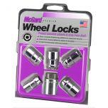 Chrome Cone Seat Wheel Lock Set (7/16-20 Thread Size) - Set of 5 Locks and 1 Key