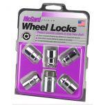 Chrome Cone Seat Wheel Lock Set (M12 x 1.5 Thread Size) - Set of 5 Locks and 1 Key