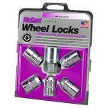 Chrome Cone Seat Wheel Lock Set (1/2-20 Thread Size) - Set of 5 Locks and 1 Key