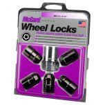 Black Cone Seat Wheel Lock Set (1/2-20 Thread Size) - Set of 5 Locks and 1 Key