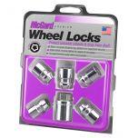 Chrome Cone Seat Wheel Lock Set (M12 x 1.25 Thread Size) - Set of 5 Locks and 1 Key