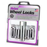 Chrome Tuner Style Cone Seat Wheel Lock Set (M14 x 1.5 Thread Size) - Set of 4; Set of 4 Locks and 1 Key