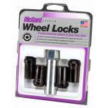 Black Tuner Style Cone Seat Wheel Lock Set (M14 x 1.5 Thread Size) - Set of 4; Set of 4 Locks and 1 Key
