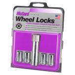 Chrome Tuner Style Cone Seat Wheel Lock Set (M12 x 1.5 Thread Size) - Set of 4 Locks and 1 Key