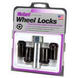 Black Tuner Style Cone Seat Wheel Lock Set (1/2-20 Thread Size) - Set of 4 Locks and 1 Key