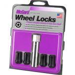 Black Tuner Style Cone Seat Wheel Lock Set (M12 x 1.25 Thread Size) - Set of 4 Locks and 1 Key
