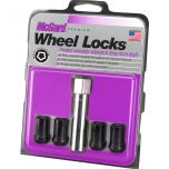 Black Tuner Style Cone Seat Wheel Lock Set (M12 x 1.5 Thread Size) - Set of 4 Locks and 1 Key