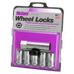 Chrome Tuner Style Cone Seat Wheel Lock Set (M14 x 1.5 Thread Size) - Set of 5 Locks and 1 Key