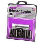 Black Tuner Style Cone Seat Wheel Lock Set (M14 x 1.5 Thread Size) - Set of 5 Locks and 1 Key
