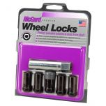 Black Tuner Style Cone Seat Wheel Lock Set (1/2-20 Thread Size) - Set of 5 Locks and 1 Key