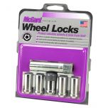 Chrome Tuner Style Cone Seat Wheel Lock Set (1/2-20 Thread Size) - Set of 5 Locks and 1 Key