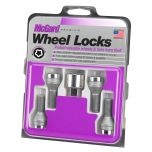 Chrome Bolt Style Cone Seat Wheel Lock Set (M12 x 1.25 Thread Size) - Set of 4 Locks and 1 Key
