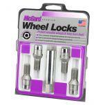 Chrome Tuner Bolt Style Cone Seat Wheel Lock Set (M12 x 1.5 Thread Size) - Set of 4 Locks and 1 Key