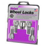 Chrome Bolt Style Cone Seat Wheel Lock Set (M14 x 1.5) - Set of 4; Set of 4 Locks and 1 Key