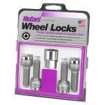 Chrome Bolt Style Radius Seat Lock Bolt Set (M12 x 1.5 Thread Size) - Set of 4 Locks and 1 Key