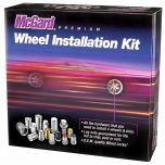 Chrome SplineDrive 4 Lug Wheel Installation Kit (M12 x 1.5 Thread Size); Set of 12 Lug Nuts, 1 Installation Tool, 4 Wheel Locks, 1 key, & Key Storage Pouch