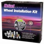 Chrome Radius Seat Lug Bolt Wheel Installation Kit for 5 Lug Vehicles (M14x1.5 Thread Size); Set of 16 Lug Bolts, 4 Wheel Locks, 1 Key & 1 Key Storage Pouch.