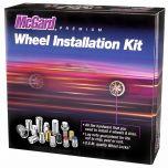 Chrome Cone Seat Wheel Installation Kit for 5 Lug Vehicles (M14 x 1.5 Thread Size); Set of 16 Lug Nuts, 4 Wheel Locks, 1 Key & 1 Key Storage Pouch